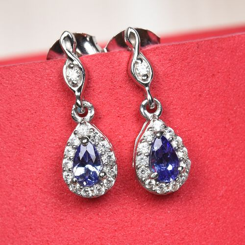 AAA Tanzanite and Natural Cambodian Zircon Dangle Earrings (with Push Back) in Platinum Overlay Sterling Silver 1.00 Ct.