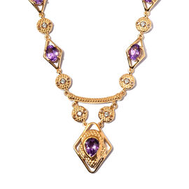 Moroccan Amethyst and Natural Cambodian Zircon Necklace (Size 18 with 2 inch Extemder) in 14K Yellow