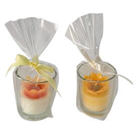 2 Piece Set - Burnt Orange Sunflower Candles in Glass (Size 5x4.5 Cm) - Sunflower