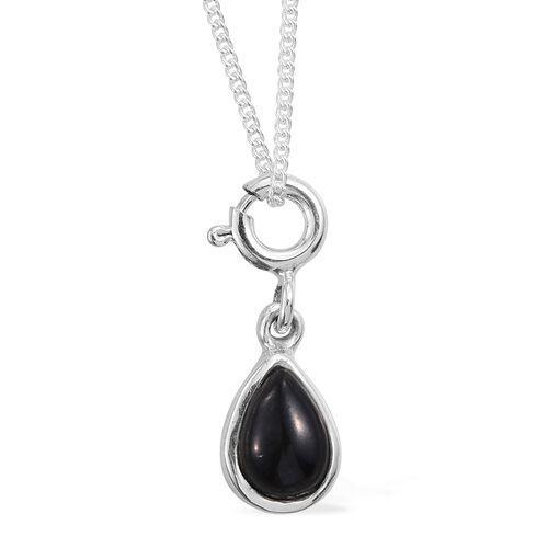 Boi Ploi Black Spinel (Pear)  Earrings and Chain Set  in Sterling Silver. Silver Wt 5.00 Gms