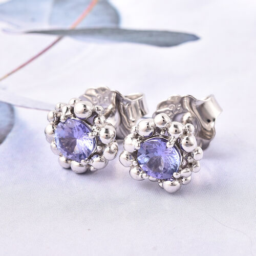 LucyQ Bubble Collection - Tanzanite Stud Earrings (with Push Back) in Rhodium Overlay Sterling Silver