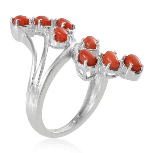 Mediterranean Coral (1.25 Ct) Platinum Overlay Sterling Silver Ring  1.250  Ct.