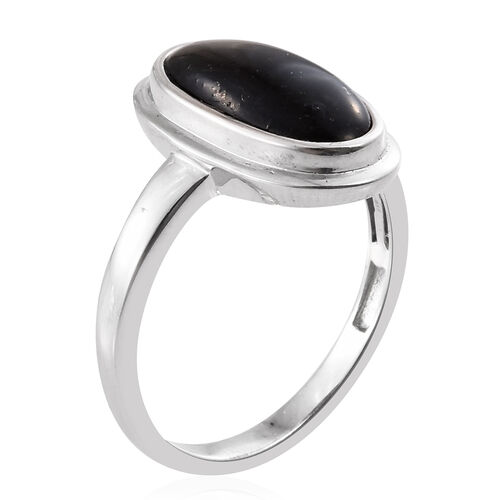 Shungite (Ovl) Solitaire Ring in Platinum Overlay Sterling Silver 3.750 Ct.
