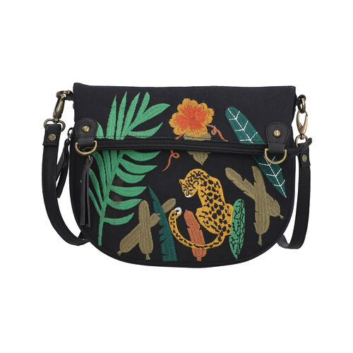 Leather and Canvas Leopard Embroidered Crossbody Bag (Size 27x1.25x11.5cm) with Adjustable Shoulder