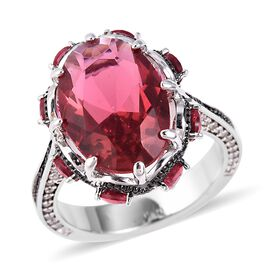 Simulated Ruby (Ovl and Rnd), Simulated Diamond Ring (Size N) in Silver and Black Plated