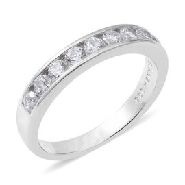 ELANZA Simulated Diamond (Rnd) Half Eternity Ring in Rhodium Overlay Sterling Silver