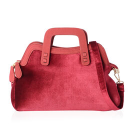 LUXE VELVET Ture Red Tote Handbag with Adjust Shoulder Strap ( 33x12x19 cm )