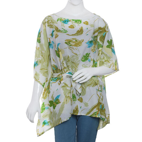 Designer Inspired- Limited Available- 100% Modal -  Off White and Green Colour Leaves and Birds Pattern Top/ Kaftan (Free Size)