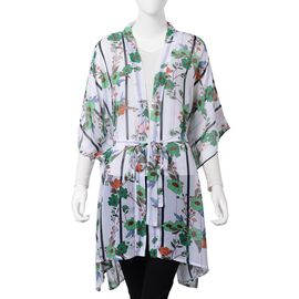 Designer Inspired- White, Green and Multi Colour Flower and Stripe Pattern Kimono (Free Size with Lenght 80 cm)