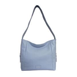 ASSOTS LONDON Courtney Pebble Grain Genuine Leather Hobo Bag (Size 31x12x29) - Pale Blue