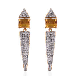 Heliodor (Oct), Natural Cambodian Zircon Earrings (with Push Back) in 14K Gold Overlay Sterling Silver 5.665 Ct, Silver wt 6.16 Gms