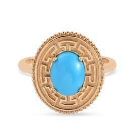 Sleeping Beauty Turquoise Fancy Ring in 14K Gold Overlay Sterling Silver 1.05 ct  1.050  Ct.