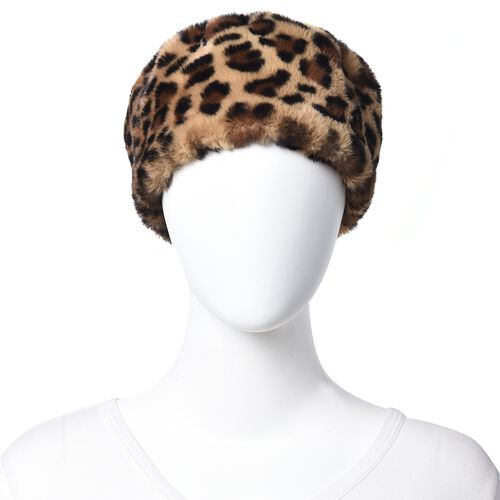 Leopard Pattern Faux Fur Warming Headband (Size 12x30 Cm) - Black and Khaki