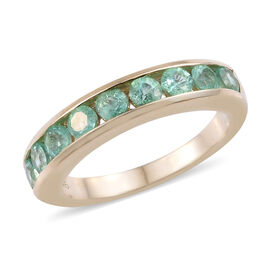 9K Yellow Gold AA Boyaca Colombian Emerald (Rnd) Half Eternity Band Ring 1.000 Ct.