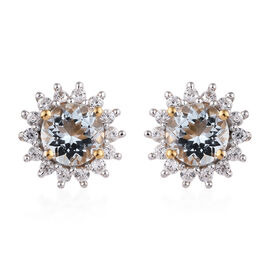 Espirito Santo Aquamarine (Rnd), Natural Cambodian Zircon Stud Earrings (with Push Back) in 14K Gold