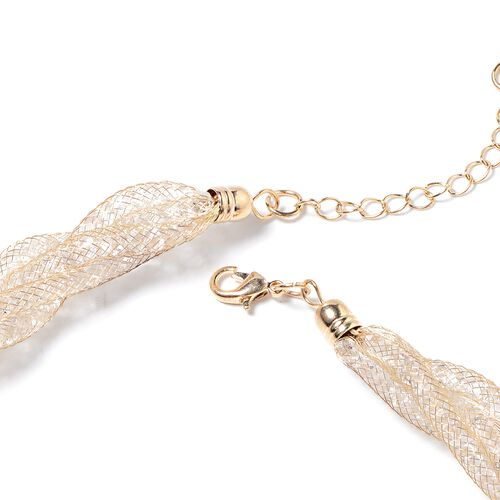 White Austrian Crystal (Rnd) Twisted Herringbone Necklace (Size 20 with 2 inch Extender) in Gold Tone