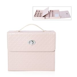Embossed Quilted Pattern Handbag Style Jewellery Organizer with Inside Mirror and Oval Twist Lock (S