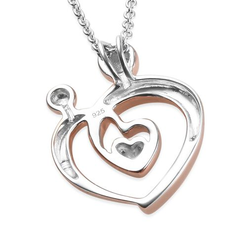 Rose Gold and Platinum Overlay Sterling Silver Mother Child Love Heart Pendant with Chain
