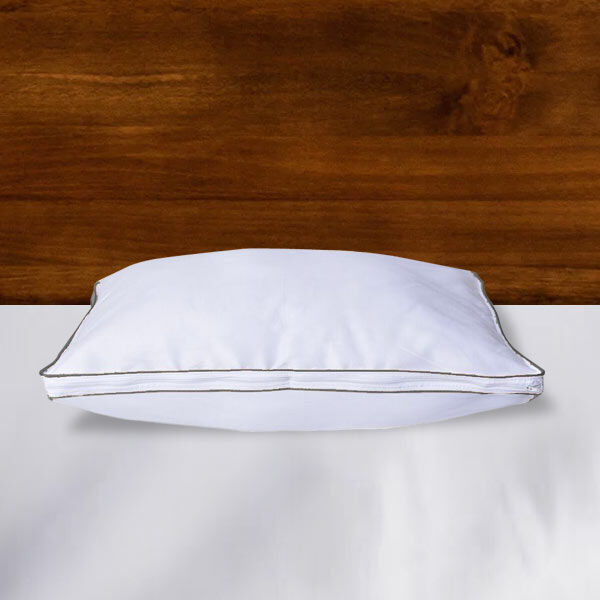 Down Alternative Pillow Cover with Silver Piping and Zipper Closure (Size 50x70cm)