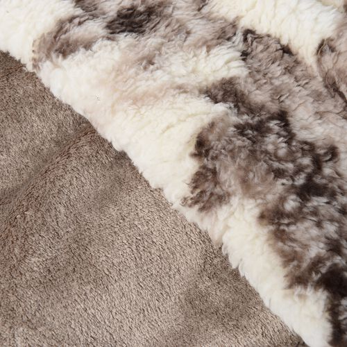 Off White and Brown Colour Floral Printed Sherpa and Flannel Bonded Blanket (Size 200x150 Cm)