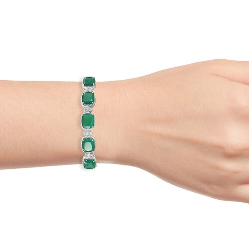Verde Onyx (Cush 11x9MM) Bangle (Size 7.5) in Platinum Overlay Sterling Silver 18.250 Ct. Silver wt 29.00 Gms.