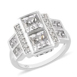 J Francis Made with SWAROVSKI ZIRCONIA Cluster Ring in Platinum Plated Sterling Silver