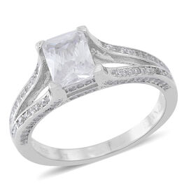 Brand New ELANZA Simulated White Diamond (Oct) Ring in Rhodium Plated Sterling Silver, Silver wt 3.74 Gms.
