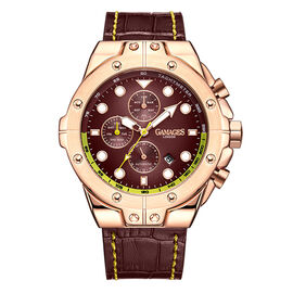 GAMAGES OF LONDON Limited Edition Hand Assembled Vessel Automatic Watch in Brown