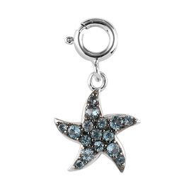 Sundays Child - Swiss Blue Topaz Star Fish Charm in Platinum Overlay Sterling Silver with Black Plat