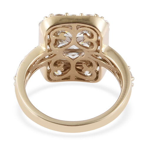 J Francis - 9K Yellow Gold (Bgt and Rnd) Cluster Ring Made with SWAROVSKI ZIRCONIA.