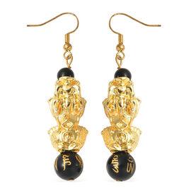 Black Obsidian Hook Earrings in Yellow Tone