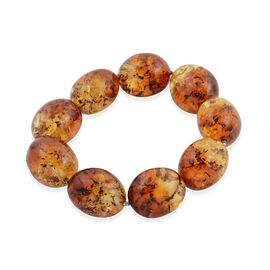 136 Ct Bi Colour Baltic Amber Barrel Beaded Stretchable Bracelet in Silver
