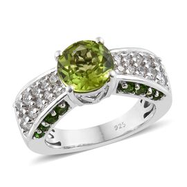 Hebei Peridot (Rnd 1.90 Ct), Natural Cambodian Zircon, Russian Diopside Ring in Platinum Overlay Ste