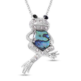 Abalone Shell, Black and White Austrian Crystal Frog Pendant with Chain (Size 20 with 2 inch Extende