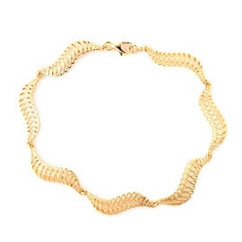 LucyQ Wave Bracelet in Yellow Gold Plated Sterling Silver 10.14 Grams 8 inch