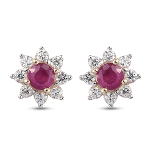 9K Yellow Gold Burmese Ruby and Natural Cambodian Zircon Cluster Earrings (with Push Back)