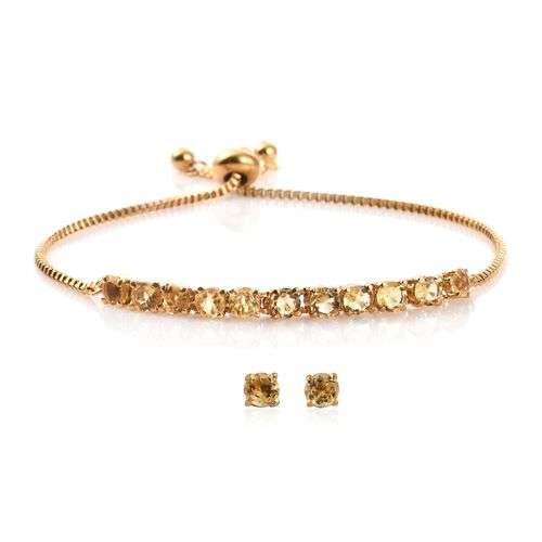 Citrine (Rnd) Adjustable Bracelet (Size 6.5 to 8.5) and Stud Earrings (with Push Back) in 14K Gold Overlay Stainless Steel 4.500 Ct.