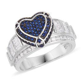 One Time Deal- Simulated Blue Spinel and Simulated White Diamond Heart Ring in Black Rhodium Plated Sterling Silver, Silver wt 5.46 Gms.