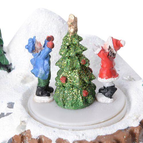 Home Decor Christmas LED Music Box (Size 10.5x15x13.5 Cm) (Needs 3 AA Batteries)