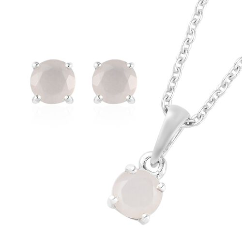 2 Piece Set - Sri Lankan White Moonstone Pendant with Chain (Size 18) and Stud Earrings (with Push B