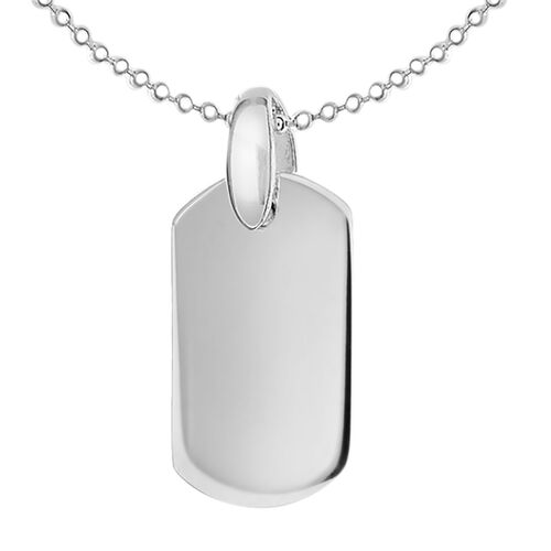 Sterling Silver Dog Tag Pendant with Chain (Size 18 with 2 inch Extender)