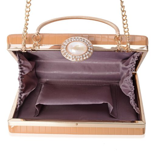 Boutique Collection Vintage Style Nude Clutch with Removable Iron Chain Shoulder Strap (Size 17.5x12x4.5 Cm)