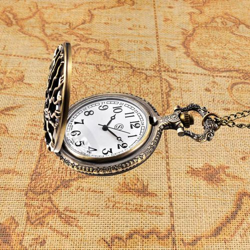 STRADA Japanese Movement Tree Pattern Pocket Watch with Chain (Size 31) in Antique Bronze Plated