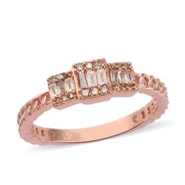Champagne Diamond Cluster Ring in Rose Gold Overlay Sterling Silver 0.25 Ct.