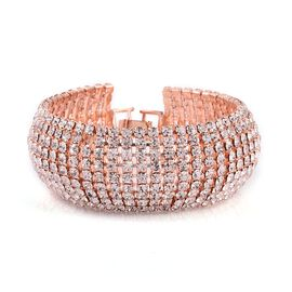 White Austrian Crystal (Rnd) Bracelet (Size 7.5) in Rose Gold Tone