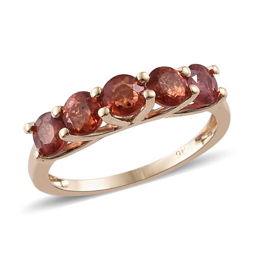 Super Auction- 9K Yellow Gold AAA Sunset Sapphire (Rnd) Five Stone Ring 1.750 Ct.