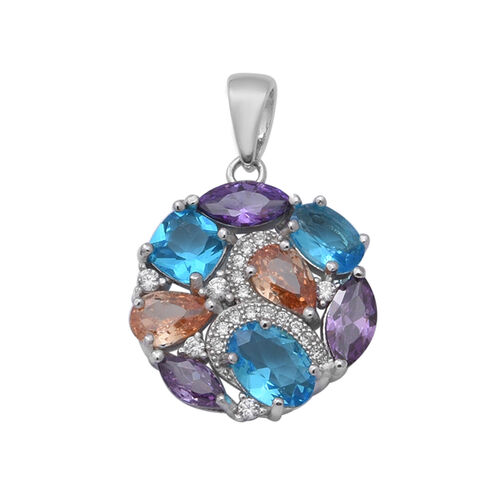 ELANZA Simulated Diamond (Rnd), Simulated Multi Colour Gemstone Pendant in Rhodium Overlay Sterling