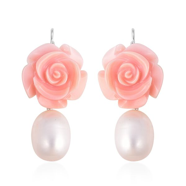 Jardin Collection - 2 Piece Set - Freshwater Pearl and Pink Mother of Pearl Necklace (Size 20) and Hook Earrings in Rhodium Overlay Sterling Silver, Silver wt 5.00 Gms
