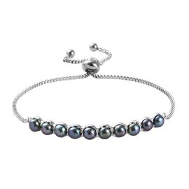Freshwater Peacock Pearl Adjustable Bolo Bracelet in Platinum Plated 6.5 to 9 Inch
