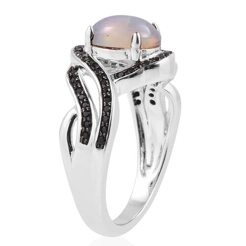 Ethiopian Welo Opal (Ovl 1.15 Ct), Boi Ploi Black Spinel Ring in Rhodium Overlay With Black Plating Sterling Silver 1.480 Ct.